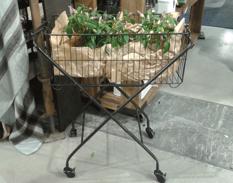 Iron basket on wheels