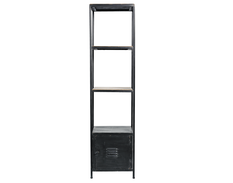 Raw metal rack with shelves & drawer