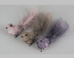 Fåglar med clip, Rosa, Brun. Lila, 3-set
