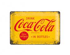 Plåtskylt Coca-Cola Logo Gul 20x30
