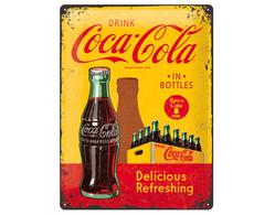 Plåtskylt Coca-Cola Bottles Gul